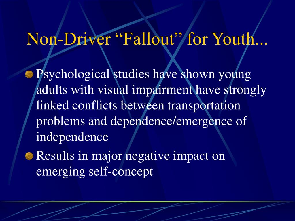 "Non-Driver ""Fallout"" for Youth..."