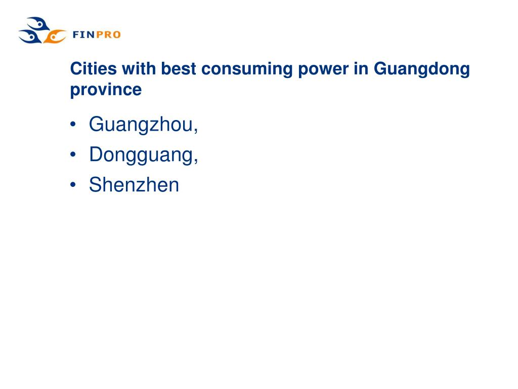 Cities with best consuming power in Guangdong province