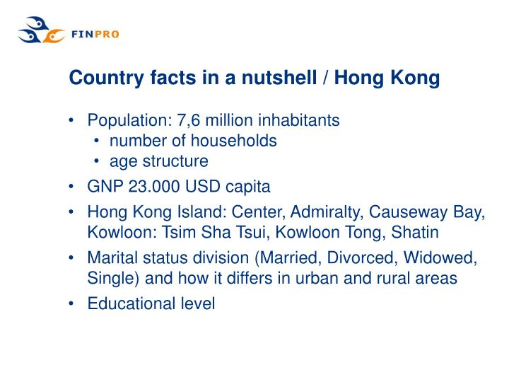 Country facts in a nutshell hong kong