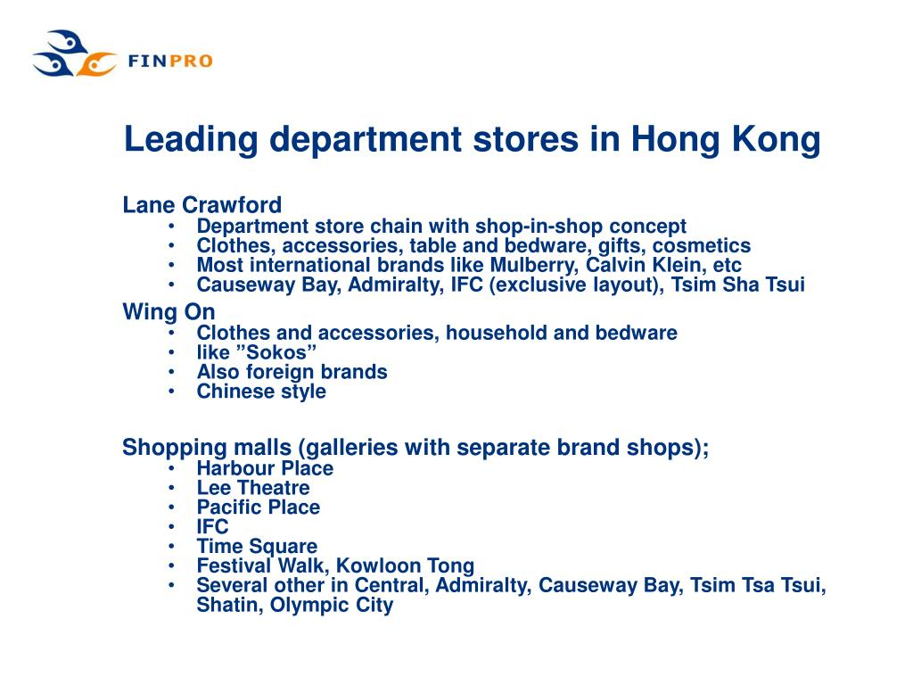 Leading department stores in Hong Kong