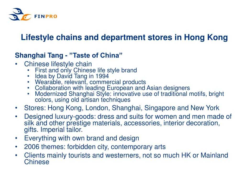 Lifestyle chains and department stores in Hong Kong