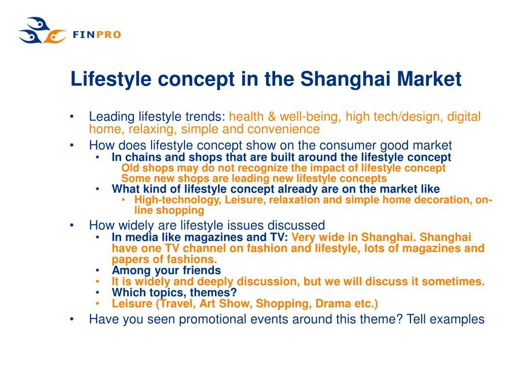 Lifestyle concept in the Shanghai Market