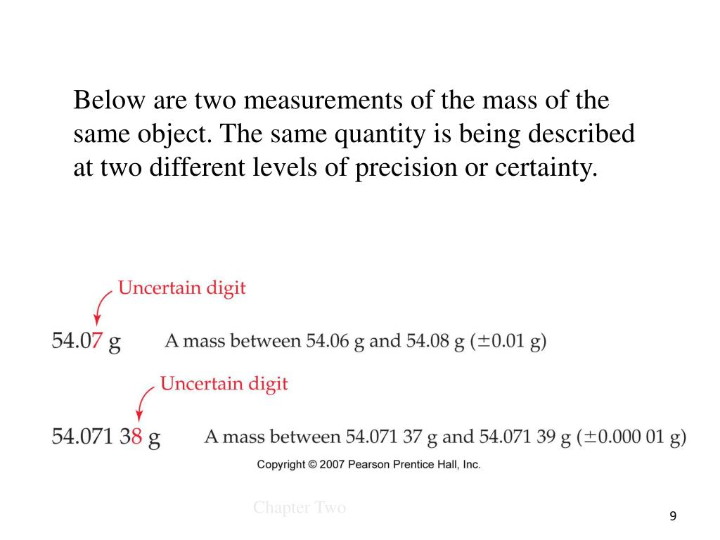 Below are two measurements of the mass of the same object. The same quantity is being described at two different levels of precision or certainty.