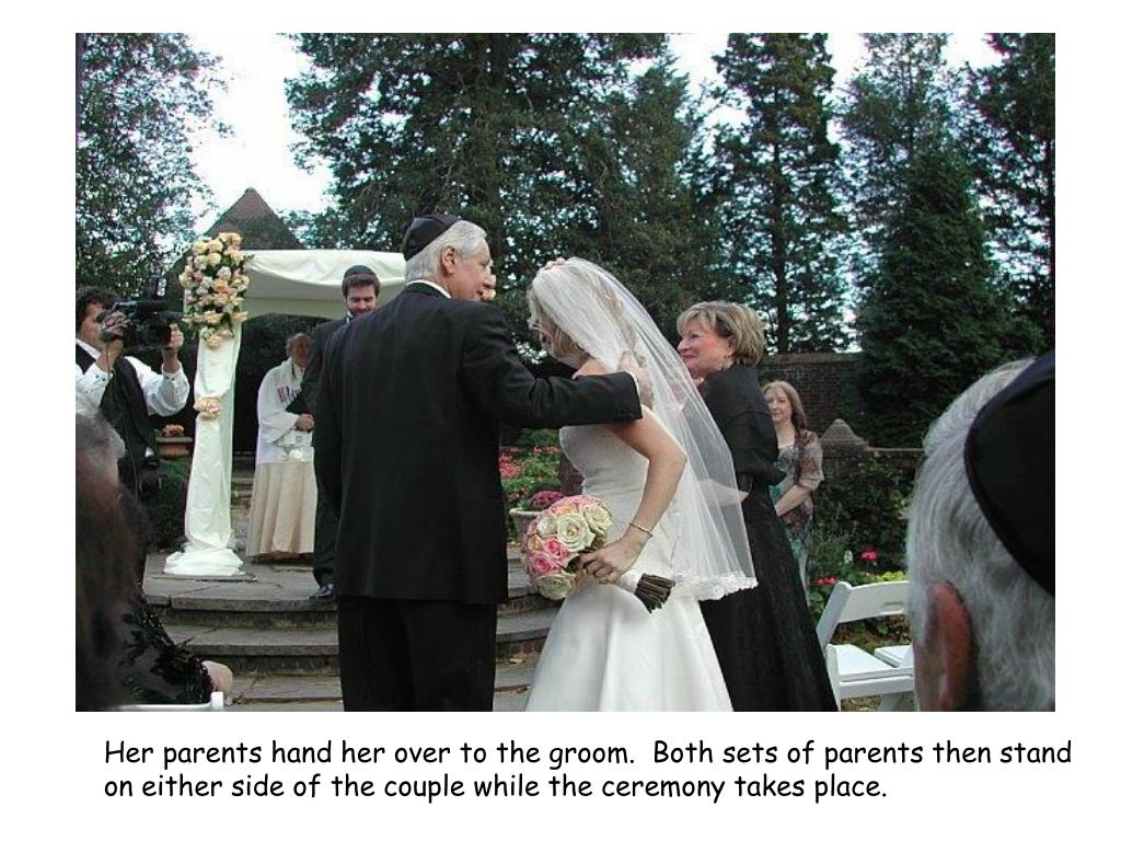 Her parents hand her over to the groom.  Both sets of parents then stand