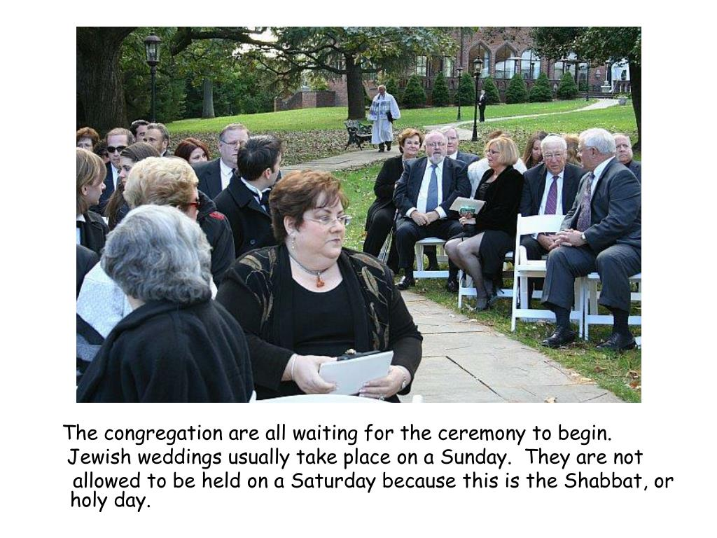 The congregation are all waiting for the ceremony to begin.