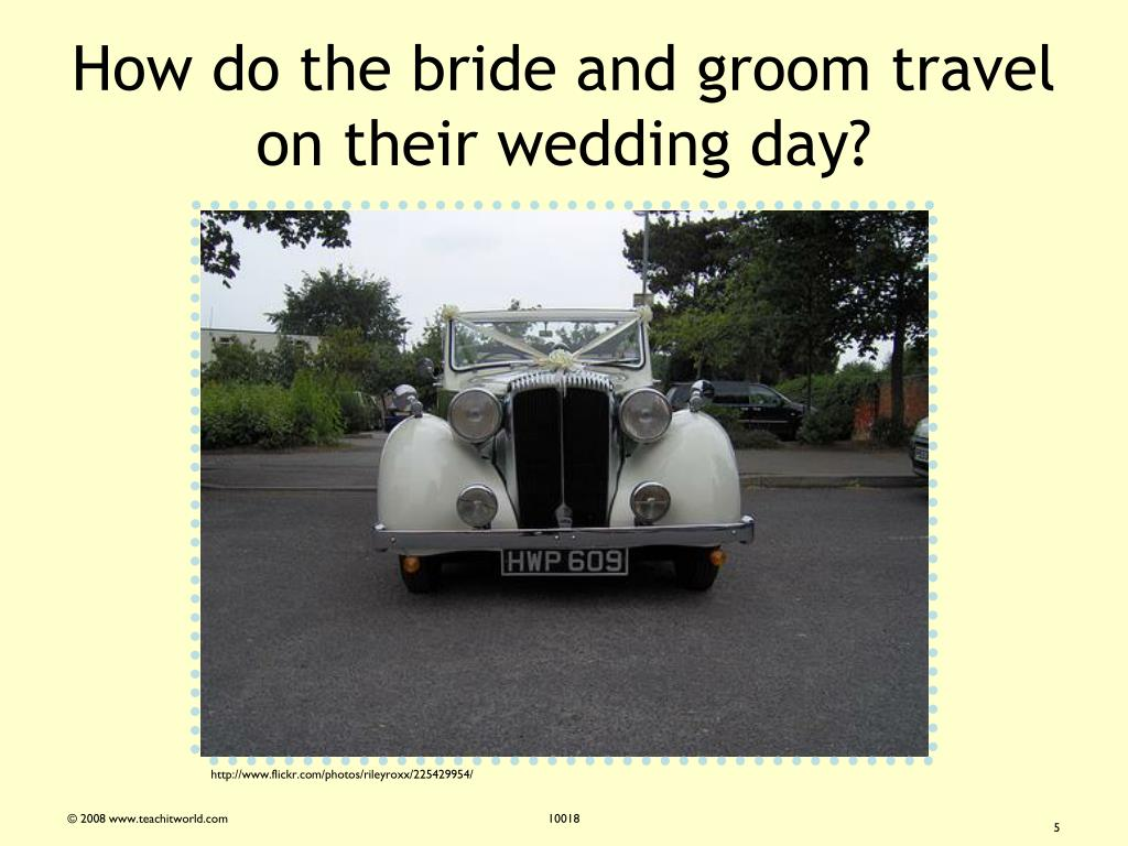 How do the bride and groom travel on their wedding day?