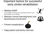 important factors for successful early stroke rehabilitation