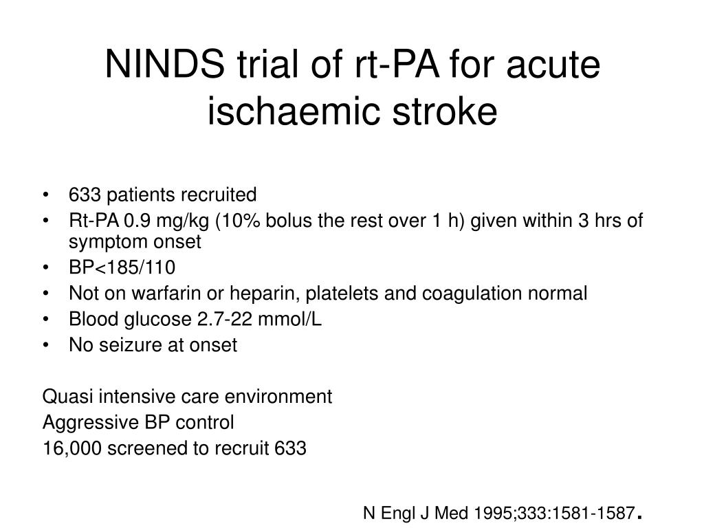 NINDS trial of rt-PA for acute ischaemic stroke