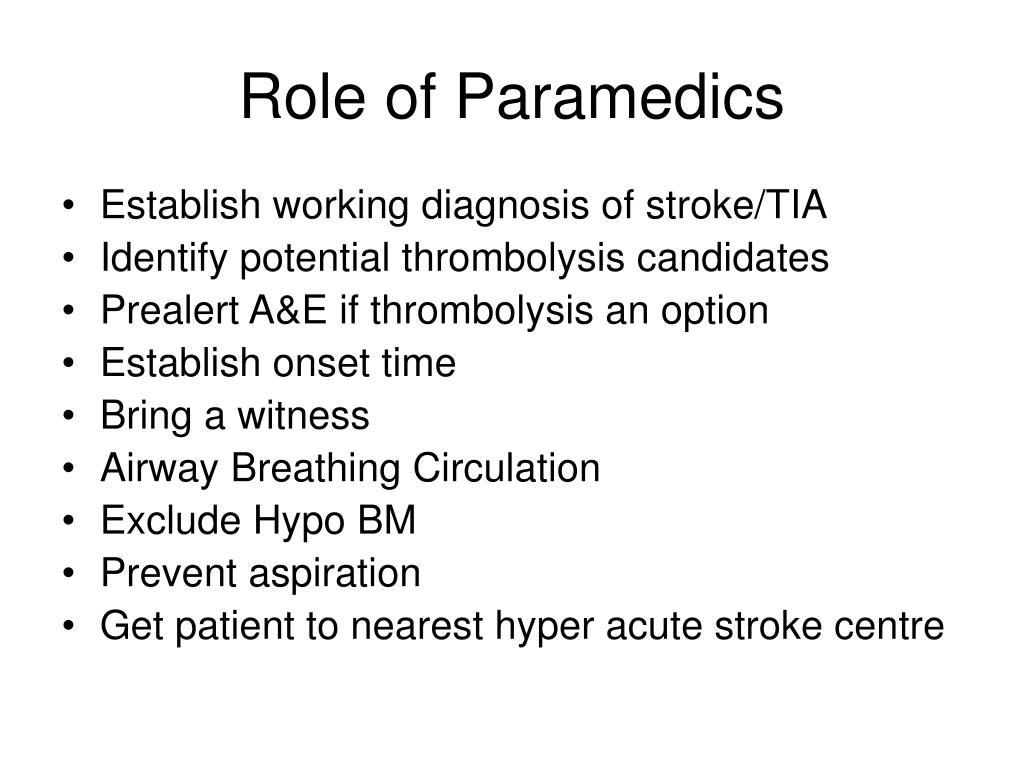 Role of Paramedics