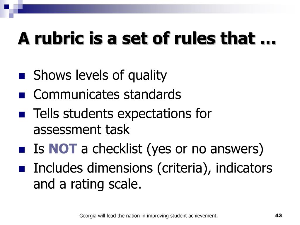 A rubric is a set of rules that …
