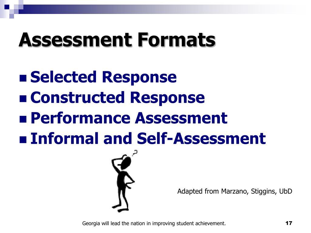 Assessment Formats