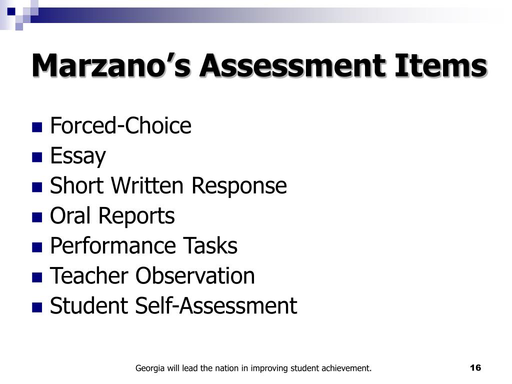 Marzano's Assessment Items