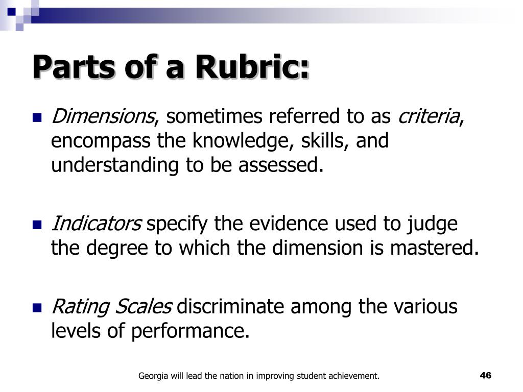 Parts of a Rubric: