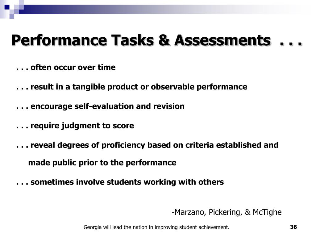 Performance Tasks & Assessments  . . .