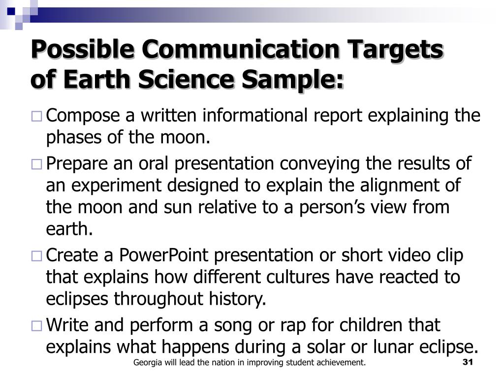 Possible Communication Targets of Earth Science Sample: