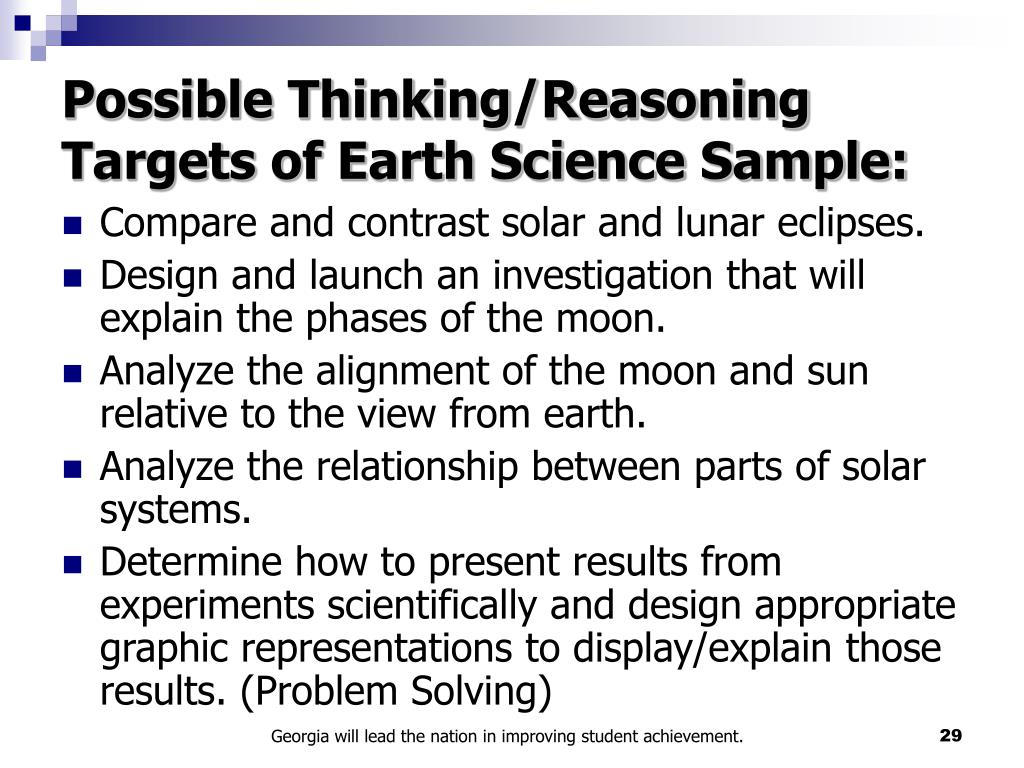 Possible Thinking/Reasoning Targets of Earth Science Sample: