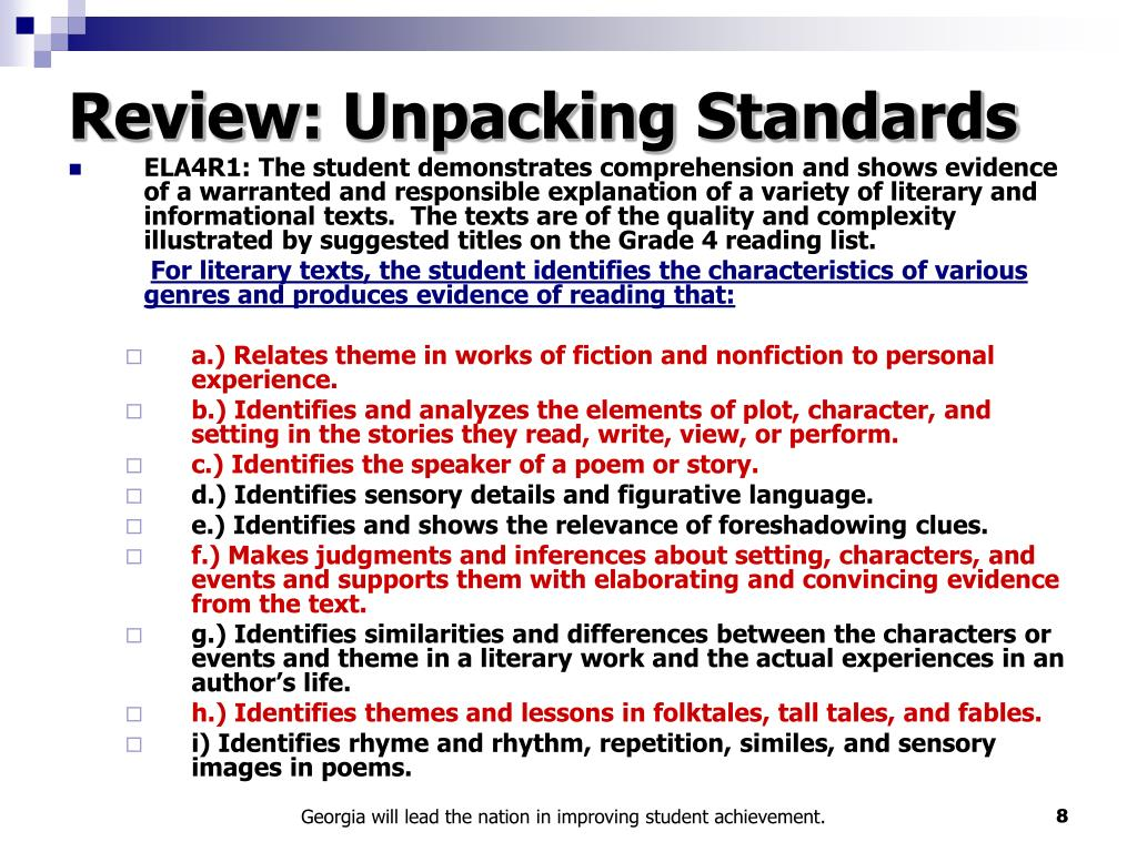 Review: Unpacking Standards