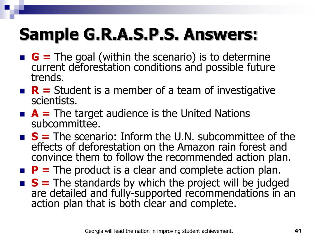 Sample G.R.A.S.P.S. Answers: