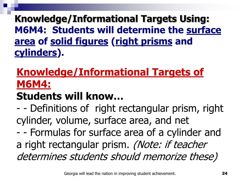 Knowledge/Informational Targets Using: