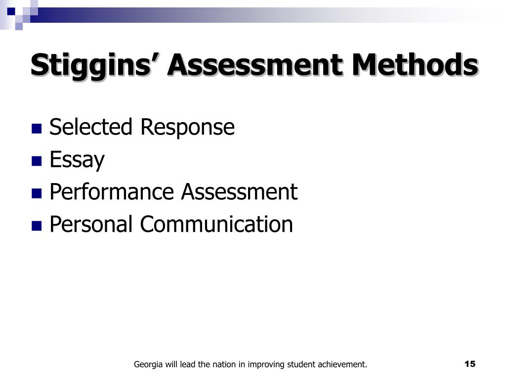 Stiggins' Assessment Methods