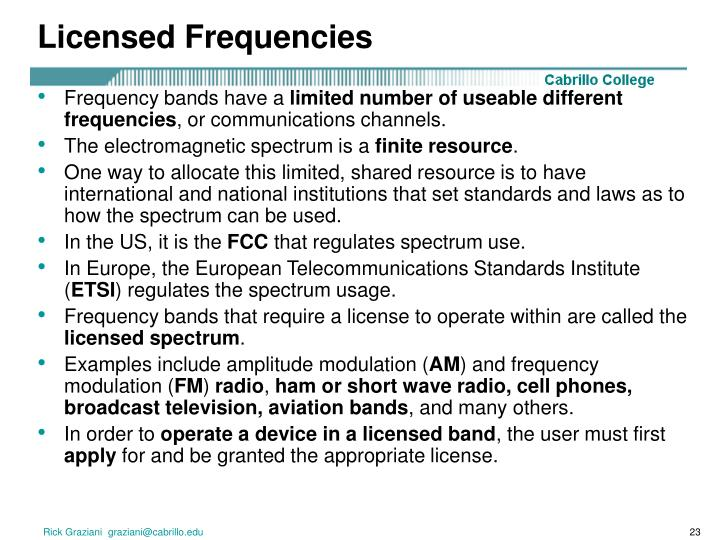 Licensed Frequencies