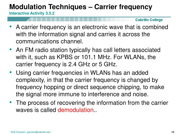 Modulation Techniques – Carrier frequency