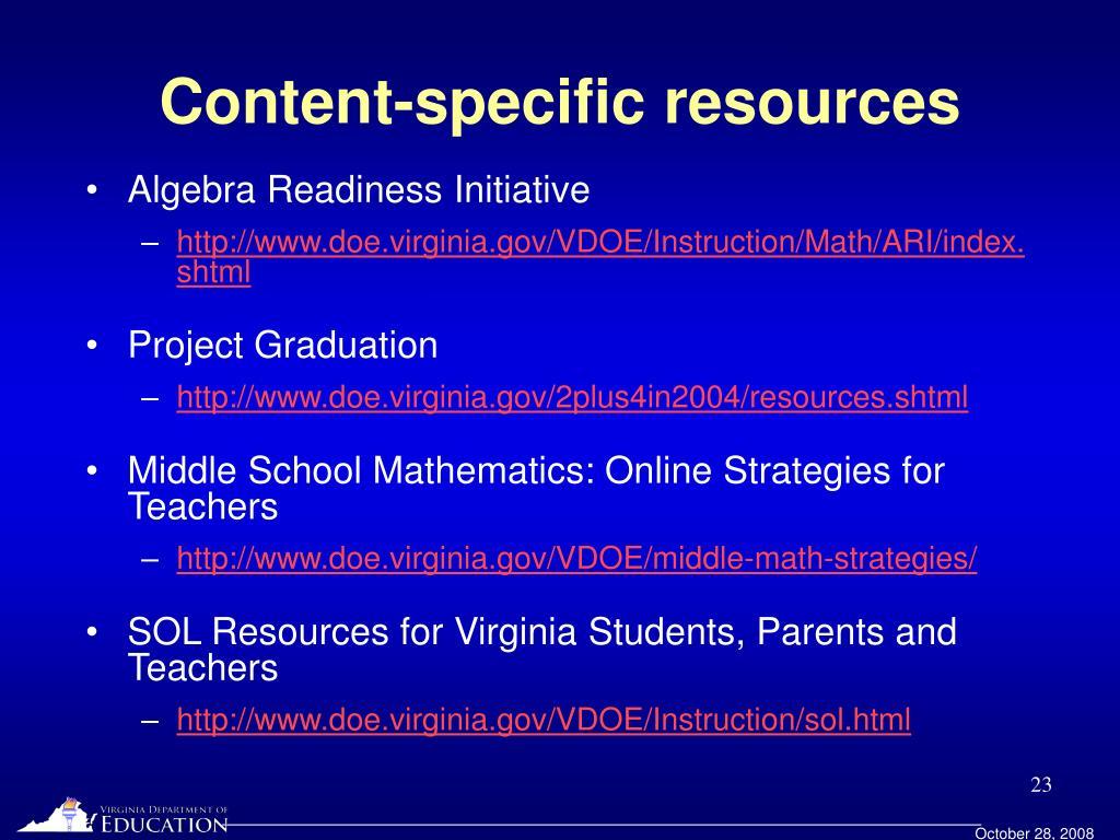 Content-specific resources