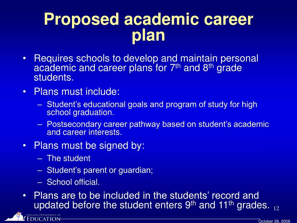 Proposed academic career plan