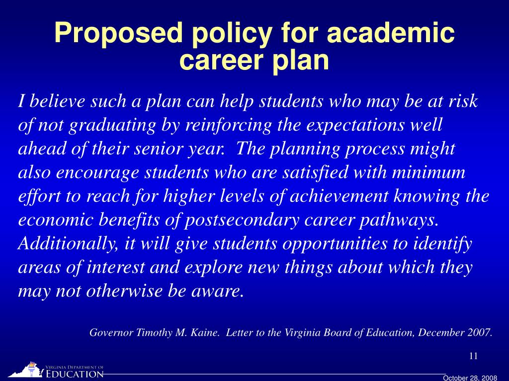 Proposed policy for academic career plan