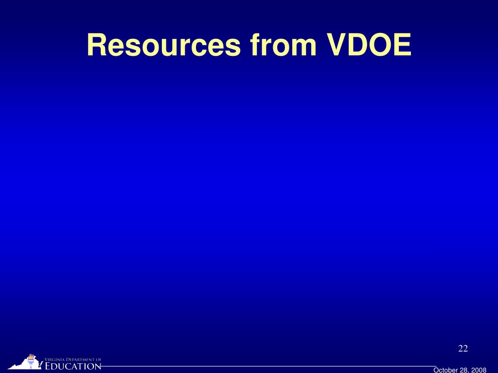 Resources from VDOE