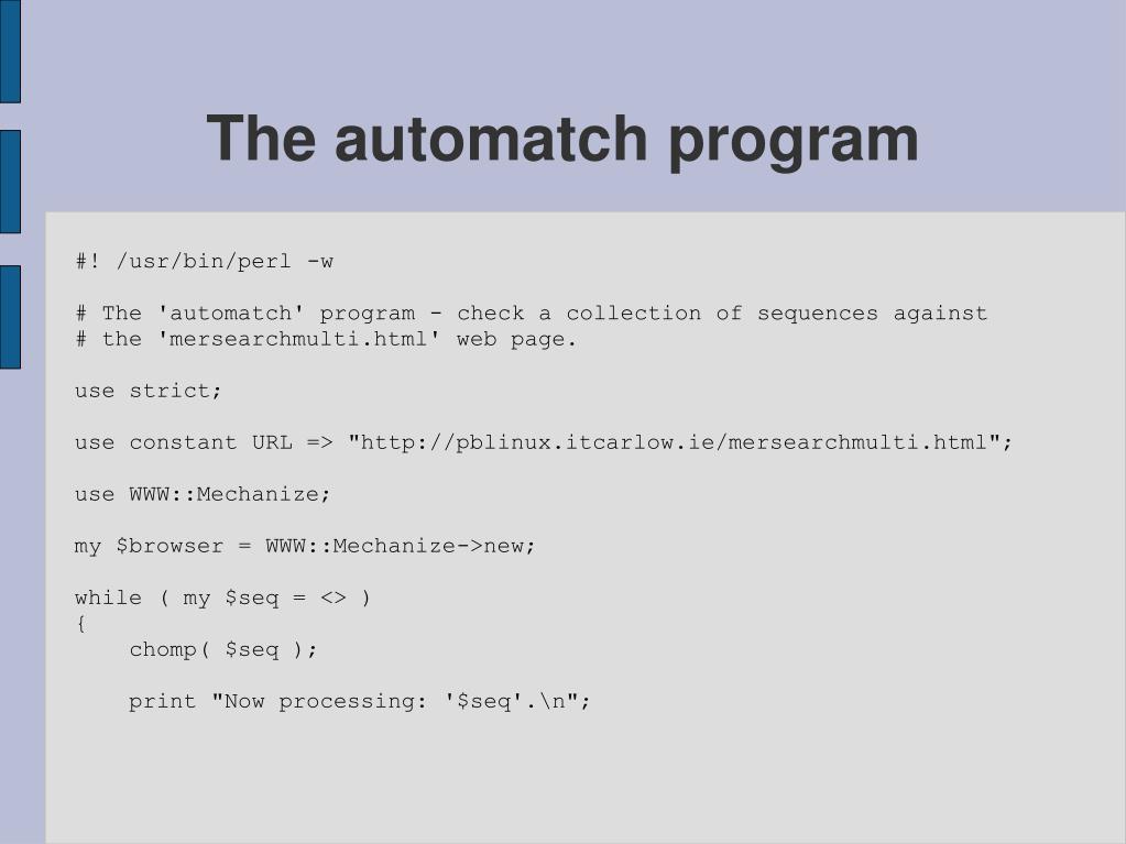 The automatch program