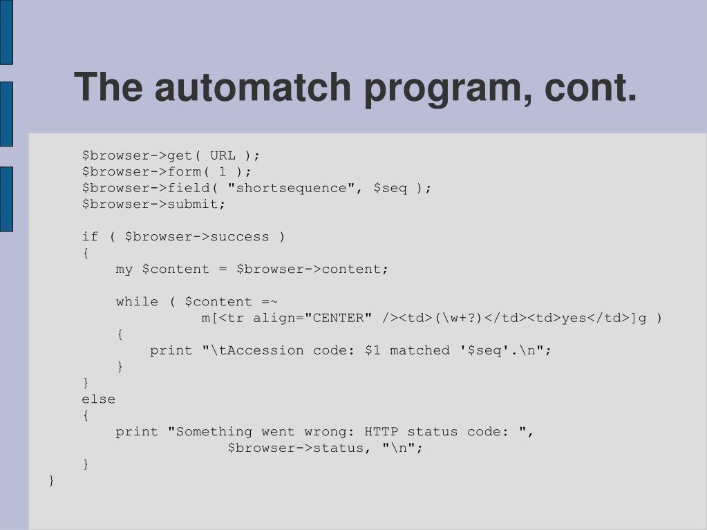The automatch program, cont.
