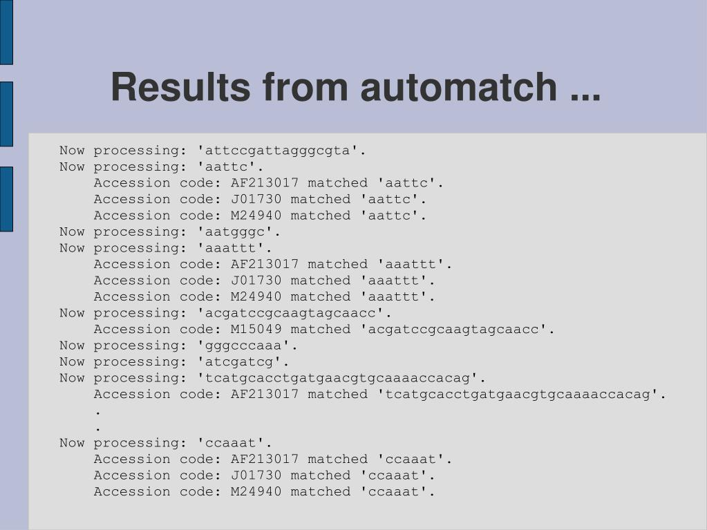 Results from automatch ...