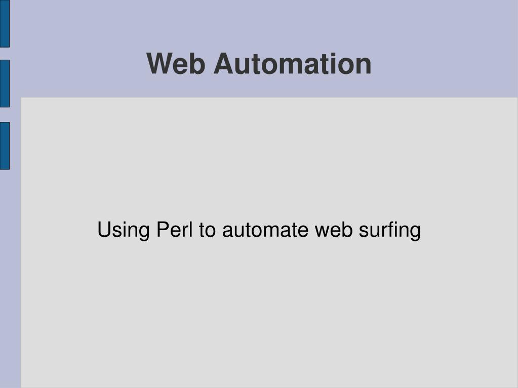 Using Perl to automate web surfing