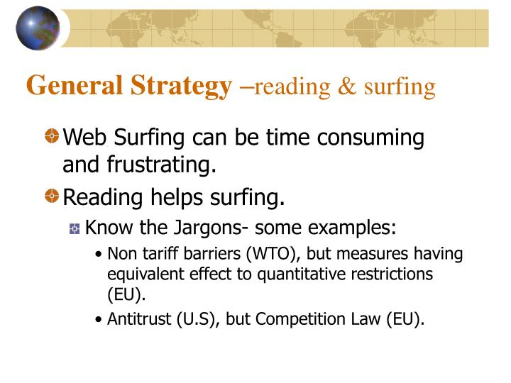 General strategy reading surfing