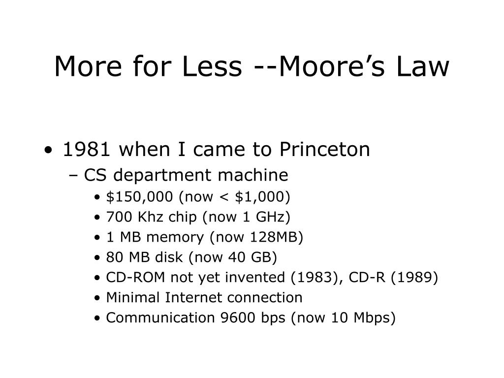 More for Less --Moore's Law