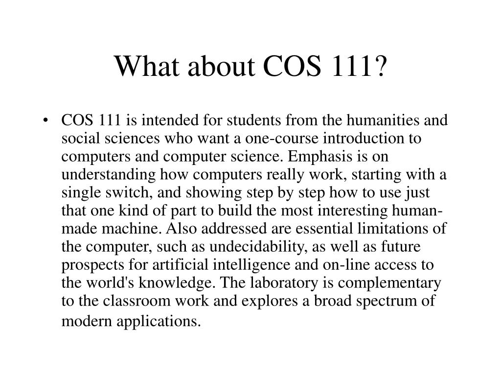 What about COS 111?