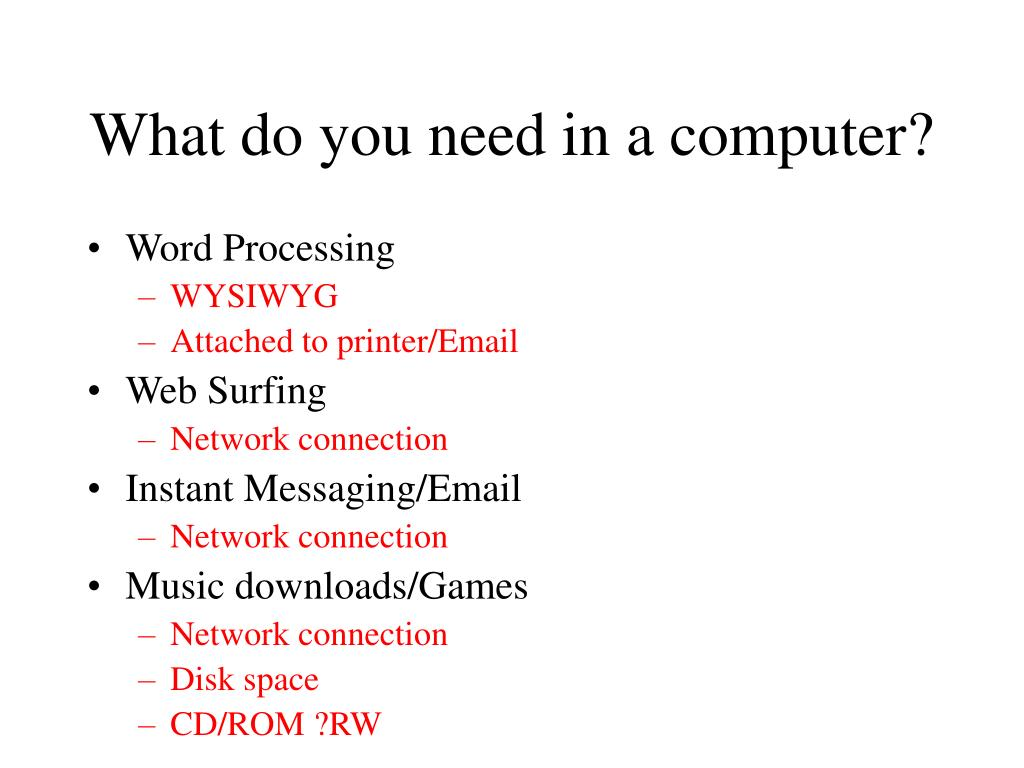 What do you need in a computer?