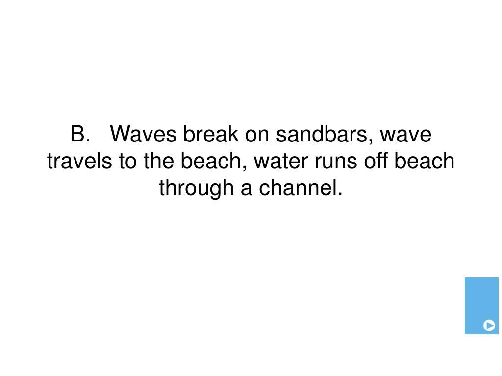 B.   Waves break on sandbars, wave travels to the beach, water runs off beach through a channel.