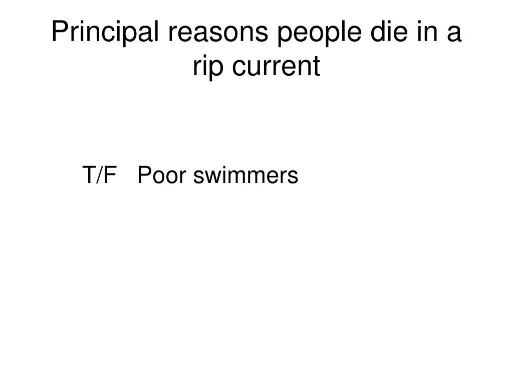 Principal reasons people die in a rip current