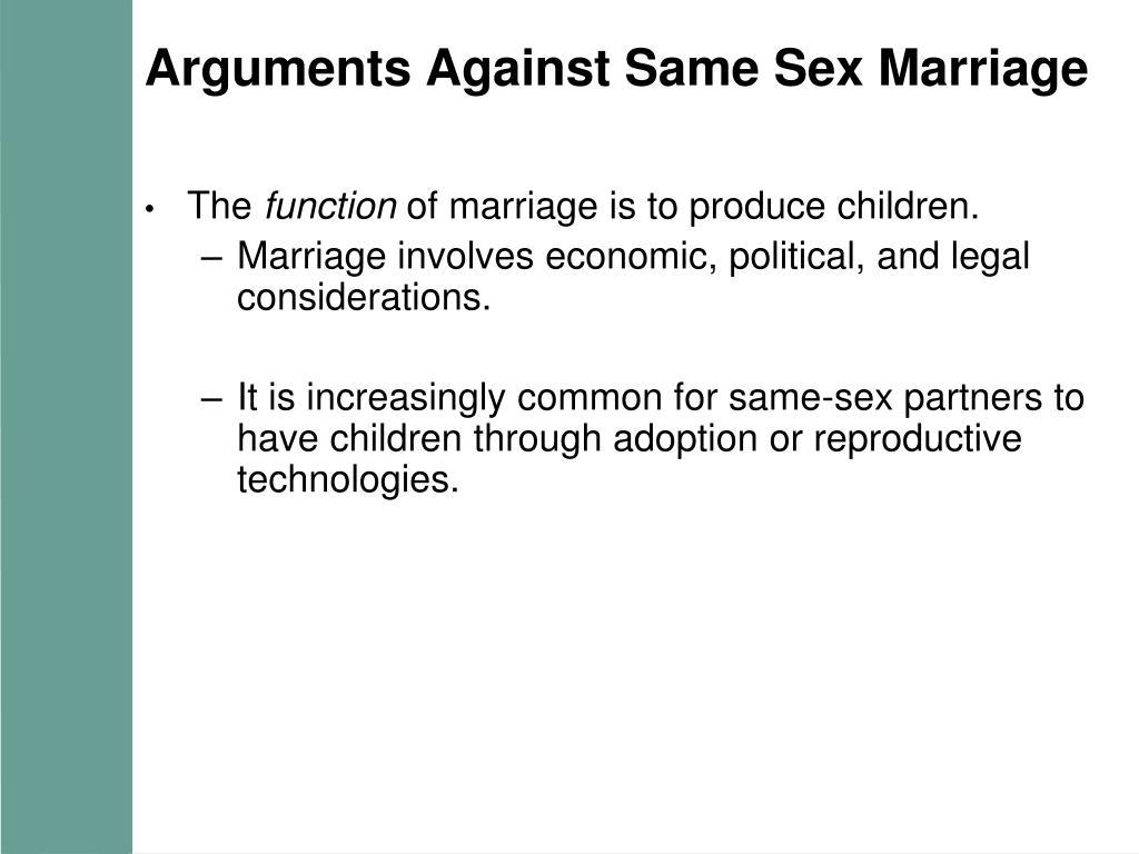 Arguments Against Same Sex Marriage