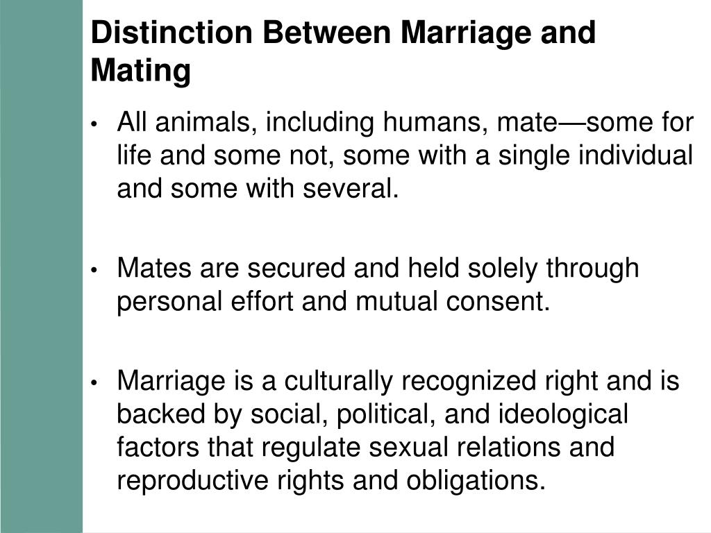 Distinction Between Marriage and Mating