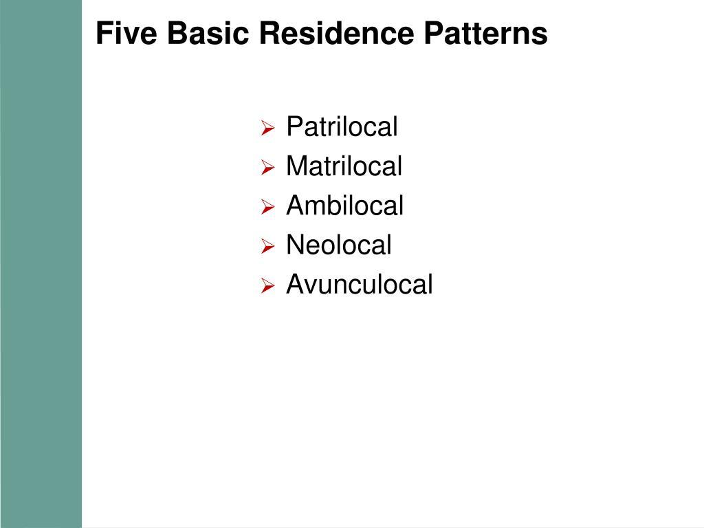 Five Basic Residence Patterns