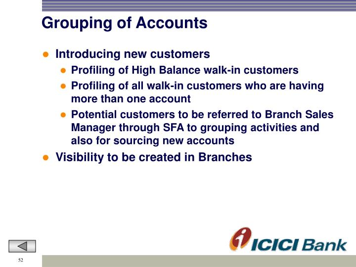 Grouping of Accounts