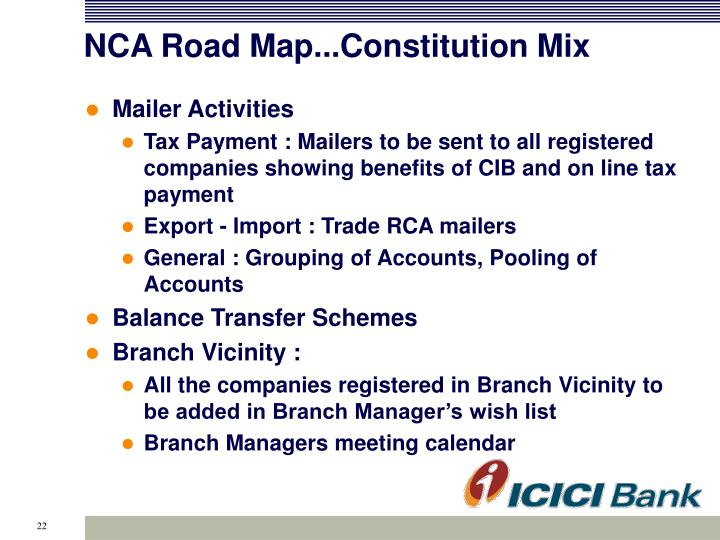 NCA Road Map...Constitution Mix