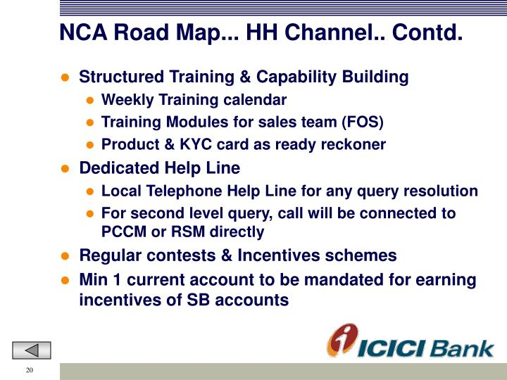NCA Road Map... HH Channel.. Contd.