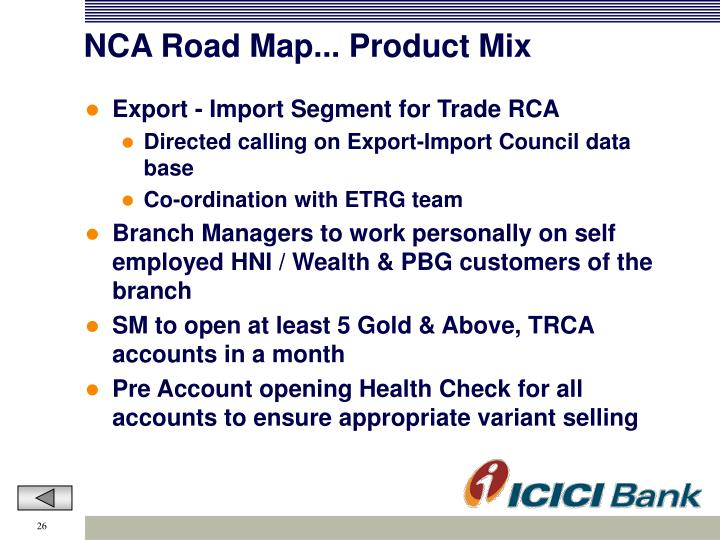 NCA Road Map... Product Mix