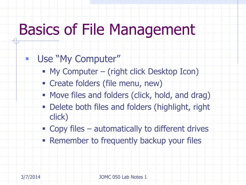 Basics of File Management