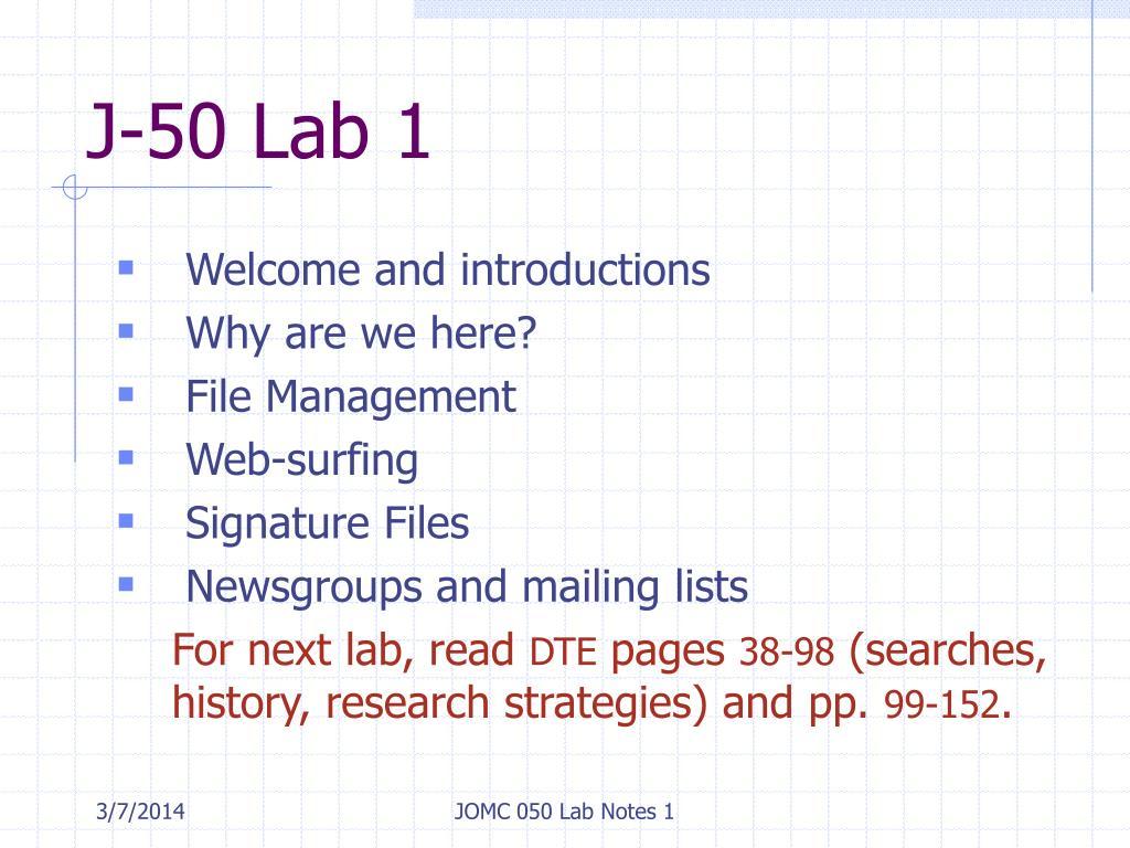 J-50 Lab 1
