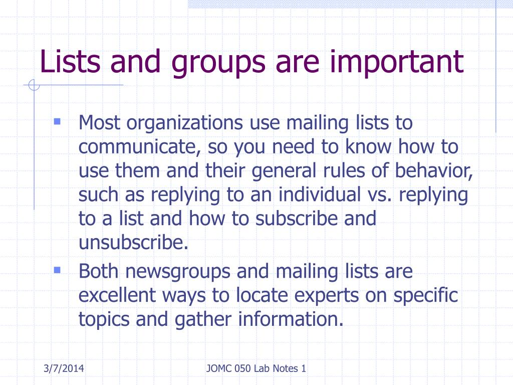 Lists and groups are important